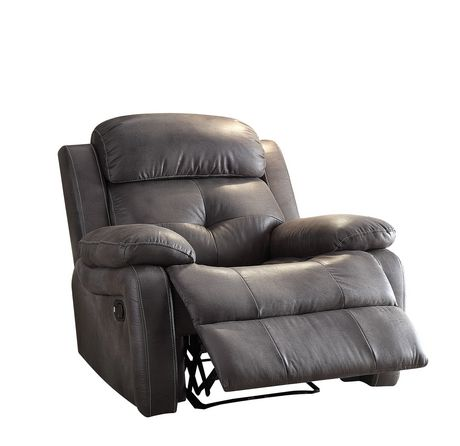 ACME Ashe Recliner in Gray Polished Microfiber - image 2 of 2