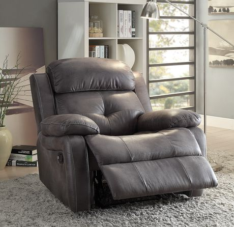 ACME Ashe Recliner in Gray Polished Microfiber - image 1 of 2