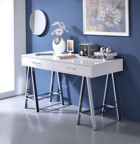 Magnificent Acme Coleen Desk In White High Gloss Chrome Interior Design Ideas Inesswwsoteloinfo