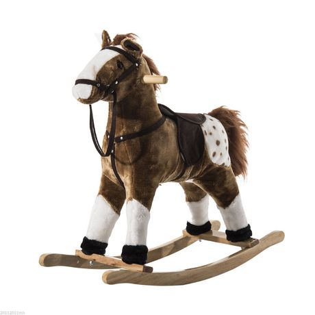 Qaba Kids Plush Brown Rocking Horse w/ Realistic Sounds - image 1 of 5