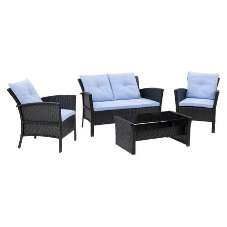 Corliving Cascade 4pc Black Resin Rattan Wicker Patio