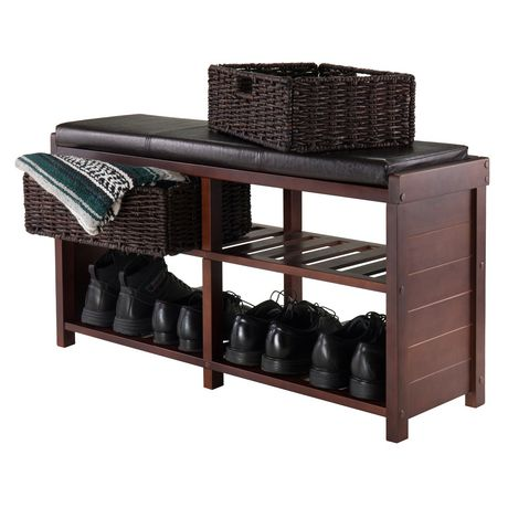 Winsome Colin Bench with Cushion Seat and Baskets - 40438 - image 2 of 3