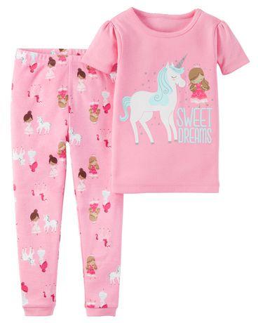 pyjama 2 pi ces 951g037 de child of mine made by carter s pour fillettes motif licorne. Black Bedroom Furniture Sets. Home Design Ideas