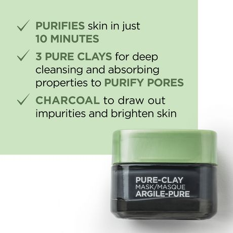 L'Oreal Paris Pure-Clay Cleansing Mask with 3 Mineral Clays + Charcoal, Energizes and Brightens Dull Skin - image 2 of 9