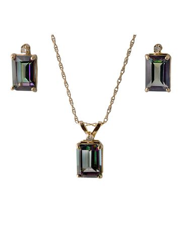 10K Yellow Gold Diamond And Mystic Topaz Earrings & Pendant Set - image 2 of 2