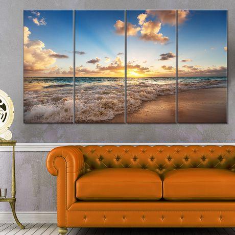 Design Art Sunrise on Beach of Caribbean Sea Large Seashore Canvas Artwork Print - image 1 of 3