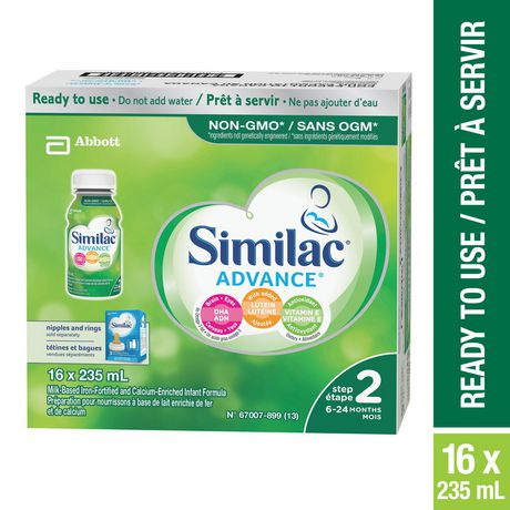 Similac Advance Step 2 Non-GMO Baby Formula, Ready to Use, 16 x 235 mL, 6-24 months - image 1 of 8