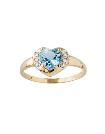 10K Yellow Gold Blue Topaz Heart Ring with Diamond Accent tdw .016ct - image 1 of 1