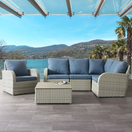 Corliving Brisbane Weather Resistant Resin Wicker 6pc Sectional
