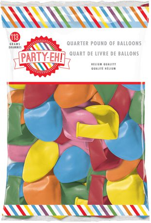Party Eh Helium Quality Assorted Shapes And Sizes Quarter Pound Of