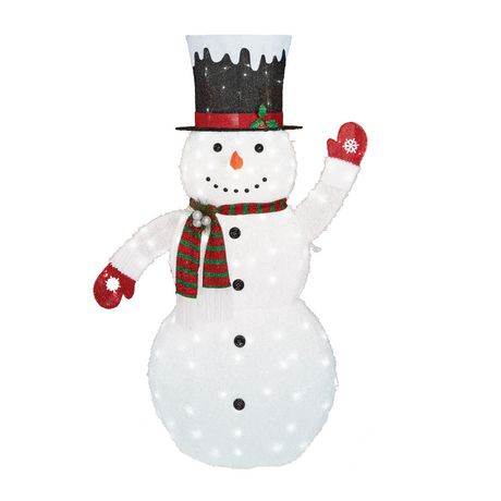 Holiday time Fluffy Snowman Sculpture - image 1 of 1