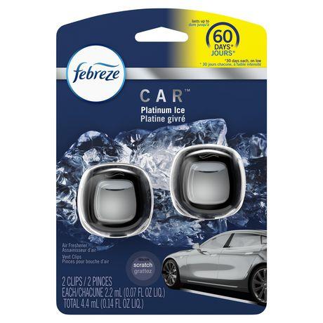 Assainisseurs d'air sous forme de pinces pour bouche d'air Febreze CAR, parfum Platinum Ice - image 1 de 6