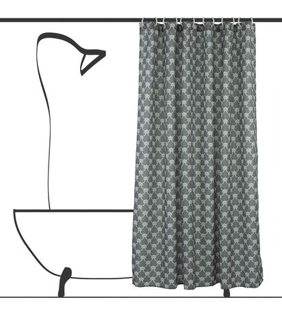 Geo Trellis Fabric Shower Curtain Liner and Ring Set (14 pieces) - image 1 of 2