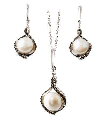 AS Ensemble pendentif et earrings avec perle diamants noirs et blancs - image 1 de 2
