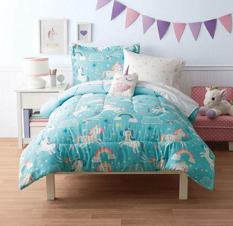 mainstays kids unicorn sky bed set - Unicorn Bedding