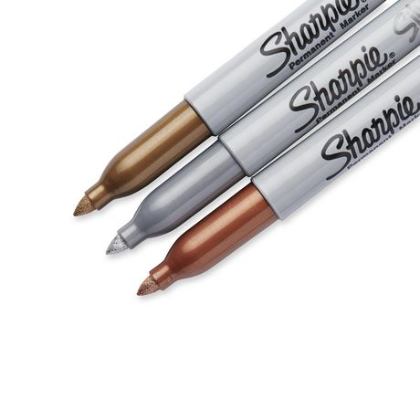 Sharpie Metallic Permanent Markers, Bronze/Silver/Gold, Fine Tip, 3/PK - image 3 of 4