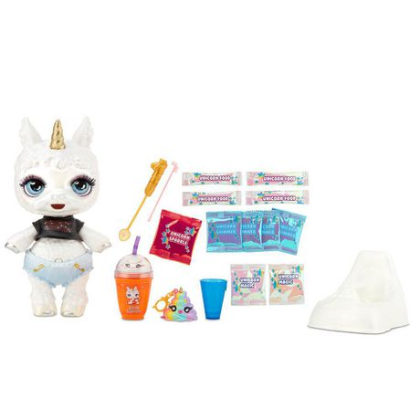 White toy llama with poop toy accessories, made by Poopsie Slime Surprise