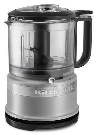 Mini robot culinaire noir, argent et verre de KitchenAid