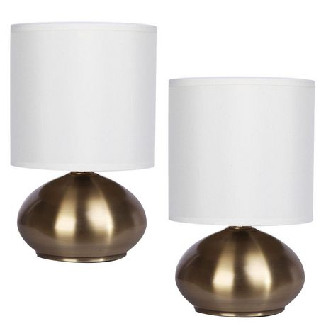 Cresswell Gold Plated Metal White Faux Silk Shade Table Lamp (2 Pack) - image 1 of 9