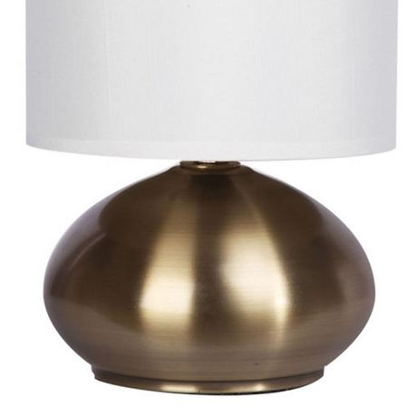 Cresswell Gold Plated Metal White Faux Silk Shade Table Lamp (2 Pack) - image 3 of 9