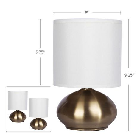 Cresswell Gold Plated Metal White Faux Silk Shade Table Lamp (2 Pack) - image 6 of 9