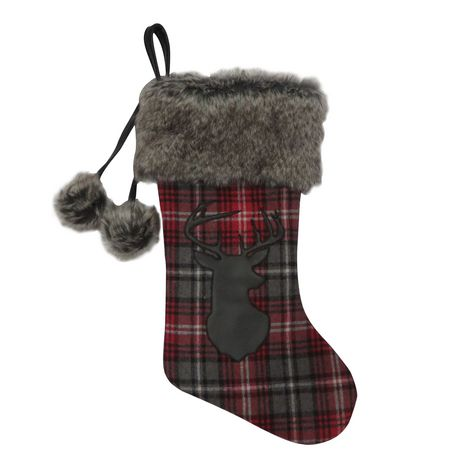 Holiday time H4C Classical Plaid Stocking with Fur Cuff - image 1 of 1
