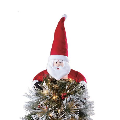Holiday time White/Red Fabric Santa Tree Hugger Topper - image 1 of 1