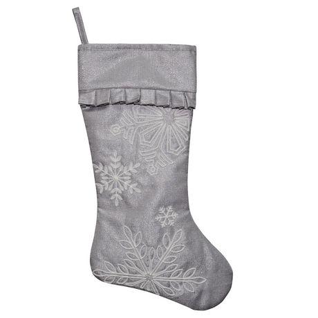 Bas de Noël en lin argenté décoré de flocons de neige en argent, fabriqué par Holiday Time