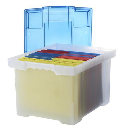 bo te de classeur storex en plastique avec couverture en transparent bleu. Black Bedroom Furniture Sets. Home Design Ideas