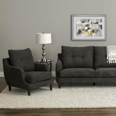 Ens sofa 2 pi ces victoria de corliving avec fauteuil en tissu de chenille g - Achat de tissus en ligne canada ...