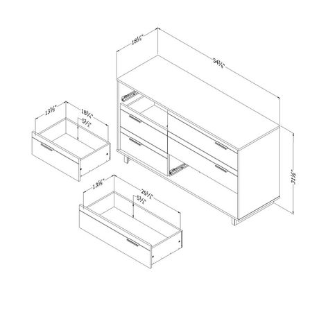 South Shore Fynn Bureau double 6 tiroirs - image 5 de 6
