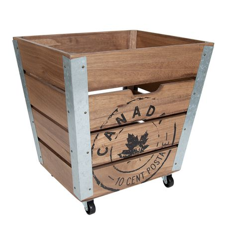 Caisse de rangement en bois sur roués avec accents en métal galvanisé dans les coins - image 1 de 6