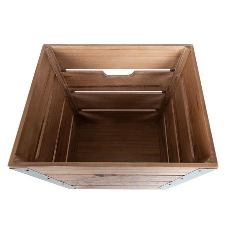 Caisse de rangement en bois sur roués accents en métal galvanisé dans les coins - image 4 de 6