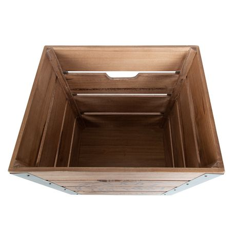 Caisse de rangement en bois sur roués avec accents en métal galvanisé dans les coins - image 4 de 6