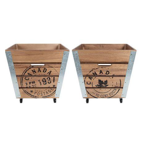 Caisse de rangement en bois sur roués accents en métal galvanisé dans les coins - image 5 de 6