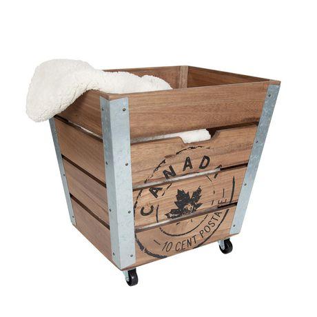 Caisse de rangement en bois sur roués avec accents en métal galvanisé dans les coins - image 6 de 6