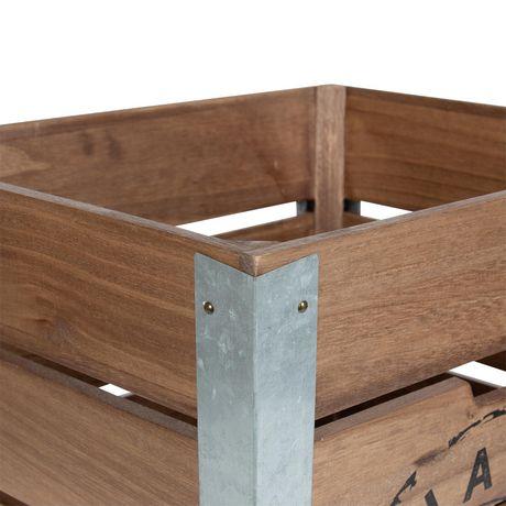 Caisse de rangement en bois sur roués avec accents en métal galvanisé dans les coins - image 3 de 6