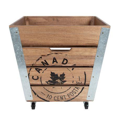 Caisse de rangement en bois sur roués avec accents en métal galvanisé dans les coins - image 2 de 6