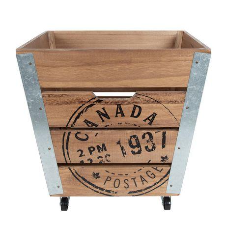 Caisse de rangement en bois sur roués accents en métal galvanisé dans les coins - image 2 de 6