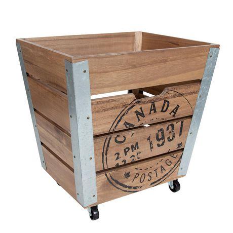 Caisse de rangement en bois sur roués accents en métal galvanisé dans les coins - image 1 de 6