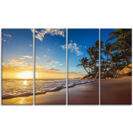 tableau mural sur toile imprim e design art paradis bord de mer moderne lever du soleil sur la. Black Bedroom Furniture Sets. Home Design Ideas