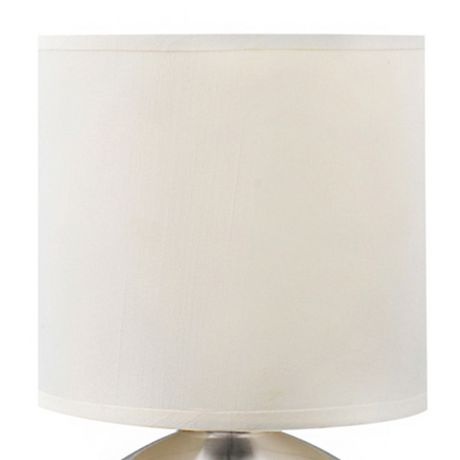 Cresswell Brushed Nickel Metal White Faux Silk Shade Table Lamp (2 Pack) - image 2 of 9