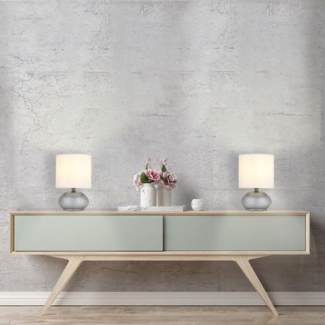 Cresswell Brushed Nickel Metal White Faux Silk Shade Table Lamp (2 Pack) - image 6 of 9