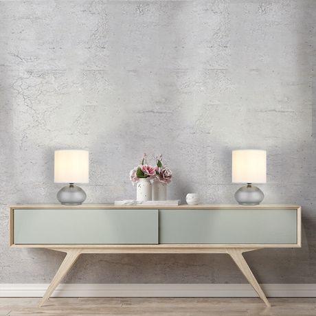 Lampe de table avec abat-jour en fausse soie blanche et base métal nickel brossé (ensemble de 2), Cresswell - image 6 de 9