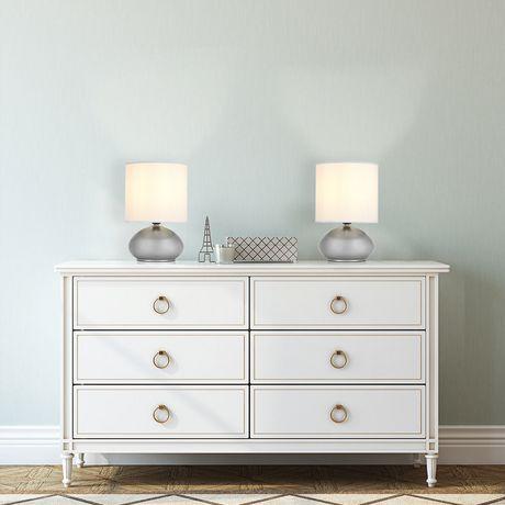 Lampe de table avec abat-jour en fausse soie blanche et base métal nickel brossé (ensemble de 2), Cresswell - image 7 de 9
