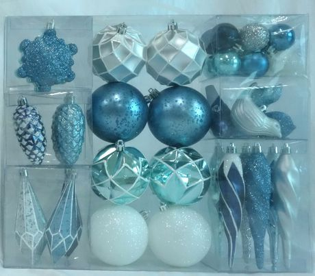 Holiday time Light Blue/Silver Shatterproof Ornaments - image 1 of 1