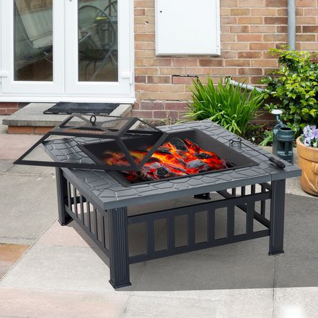 Outsunny 32Inch Outdoor Square Fire Pit - image 1 of 4