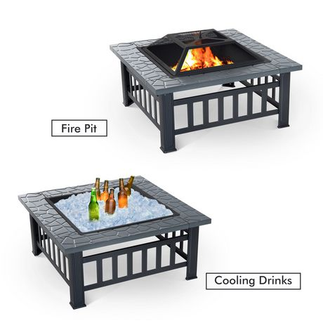 Outsunny 32Inch Outdoor Square Fire Pit - image 4 of 4