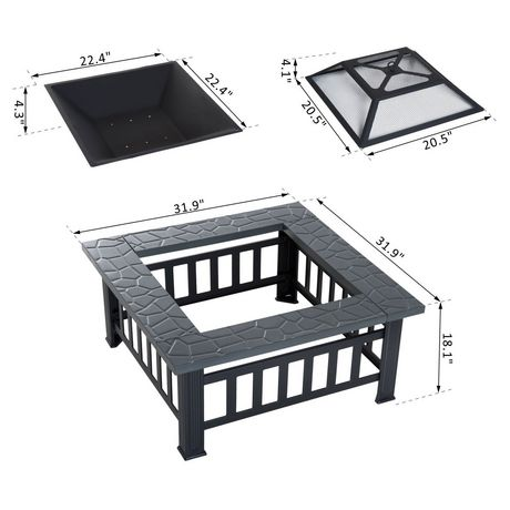 Outsunny 32Inch Outdoor Square Fire Pit - image 3 of 4