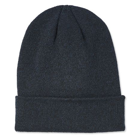 Black mixed-yarn toque with flipped up brim, made by George